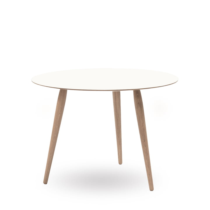 Play Round Laminate Side Table Ø 90 cm by bruunmunch in Crystal White / oak soaped