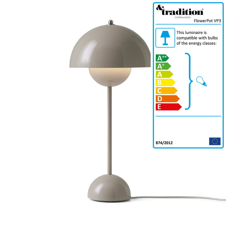 &Tradition - FlowerPot table lamp VP3, grey beige