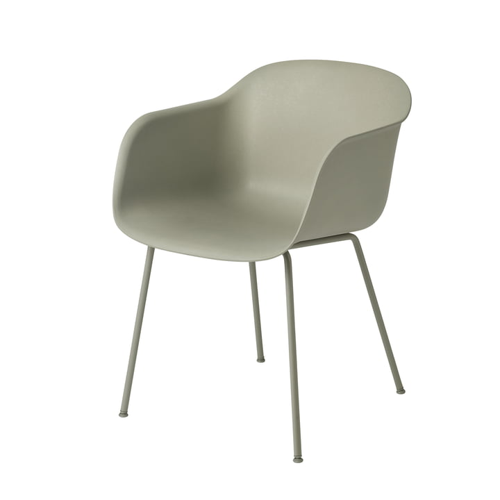 Muuto - Fiber Armchair Tube Base, dusty green