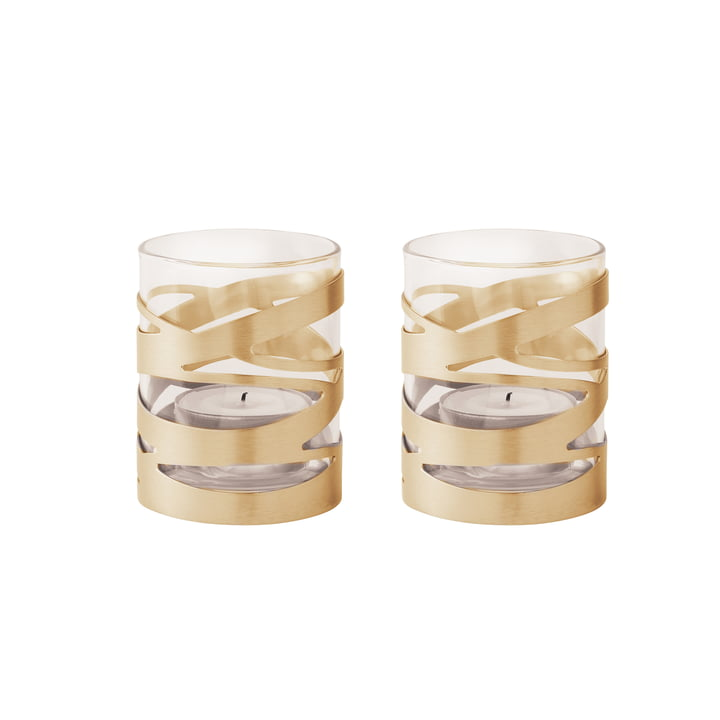 Tangle tea light holder brass (set of 2) by Stelton