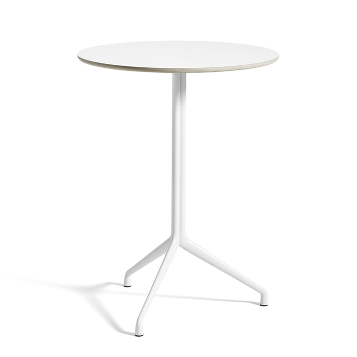 Hay - About A table AAT 20 dining table, 3-legged, Ø80 x H105 cm, white / white (plastic glides)