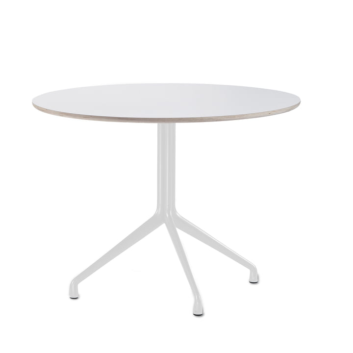 Hay - About A table AAT 20 dining table, 3-legged, Ø110 x H73 cm, white / white (plastic glides)