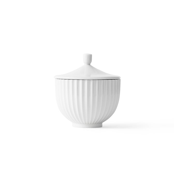 Bowl with Lid porcelain ø 10 cm by Lyngby Porcelæn in white