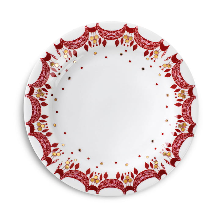 Christmas Plate Ø 20 cm by Bjørn Wiinblad in Red