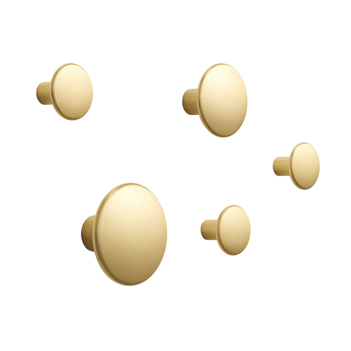 "Set of 5 wall hooks ""The Dots Metal"" by Muuto made of brass"