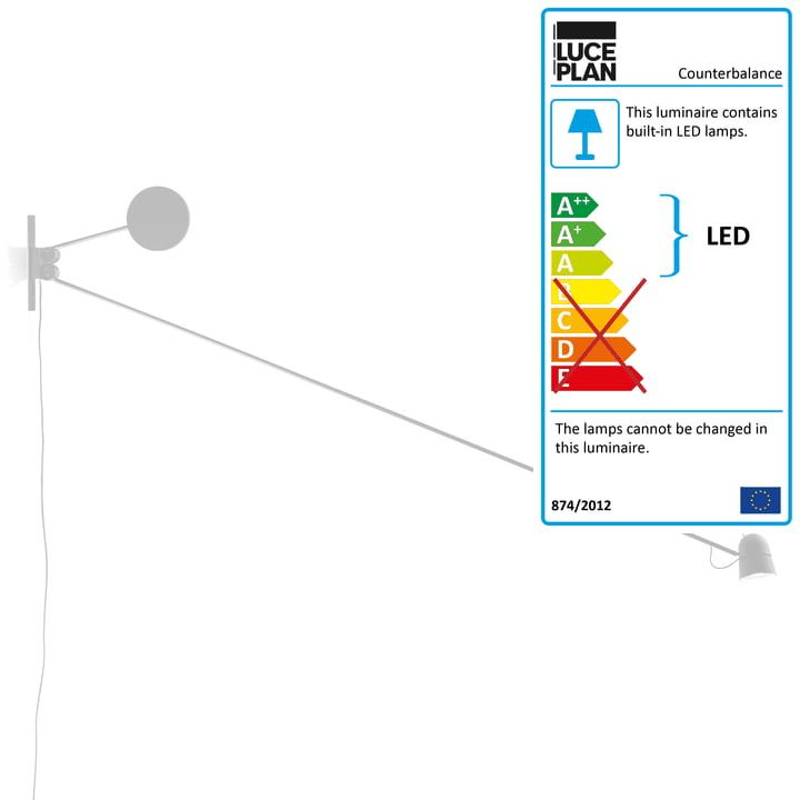 The Counterbalance Wall Lamp by Luceplan in White