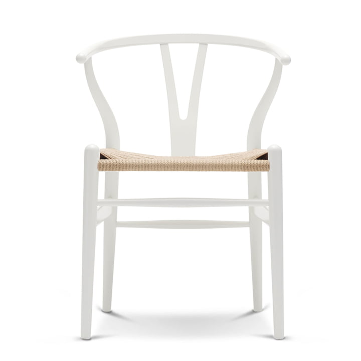 CH24 Wishbone Chair by Carl Hansen in beech white / natural weave