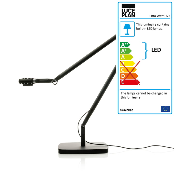 Luceplan - Otto Watt Desk Lamp D72 with base, black