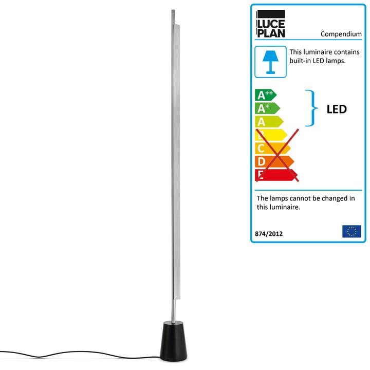 D81 Compendium LED Floor Lamp by Luceplan in Aluminium / Black