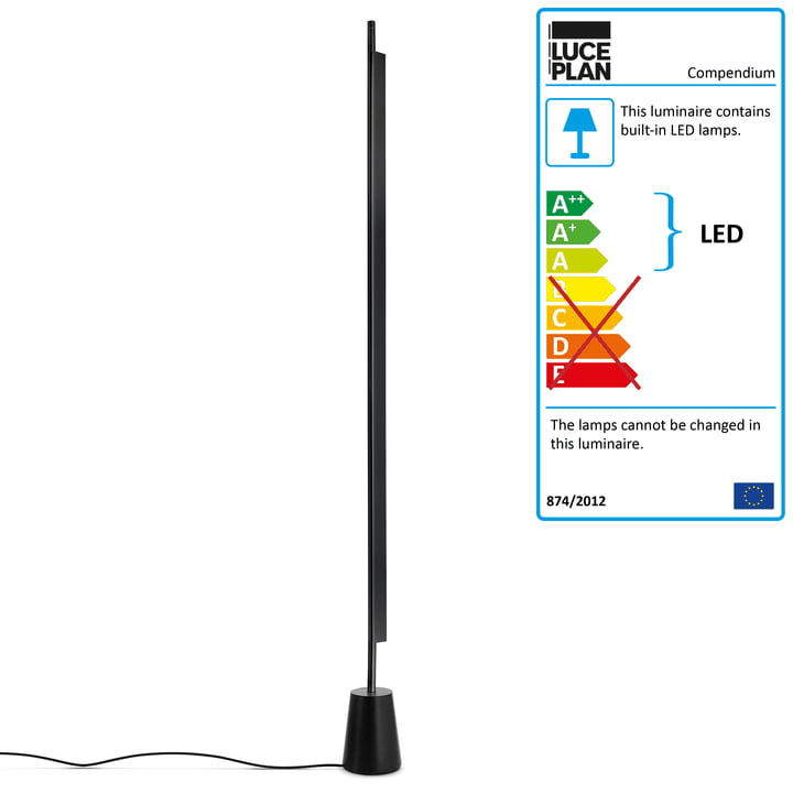 D81 Compendium LED Floor Lamp by Luceplan in Black