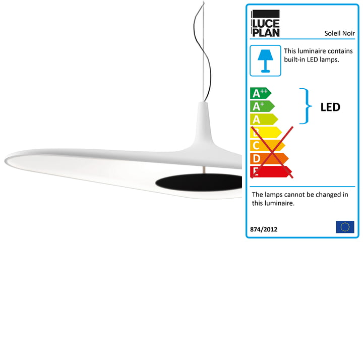 Soleil Noir Pendant Lamp by Luceplan in White