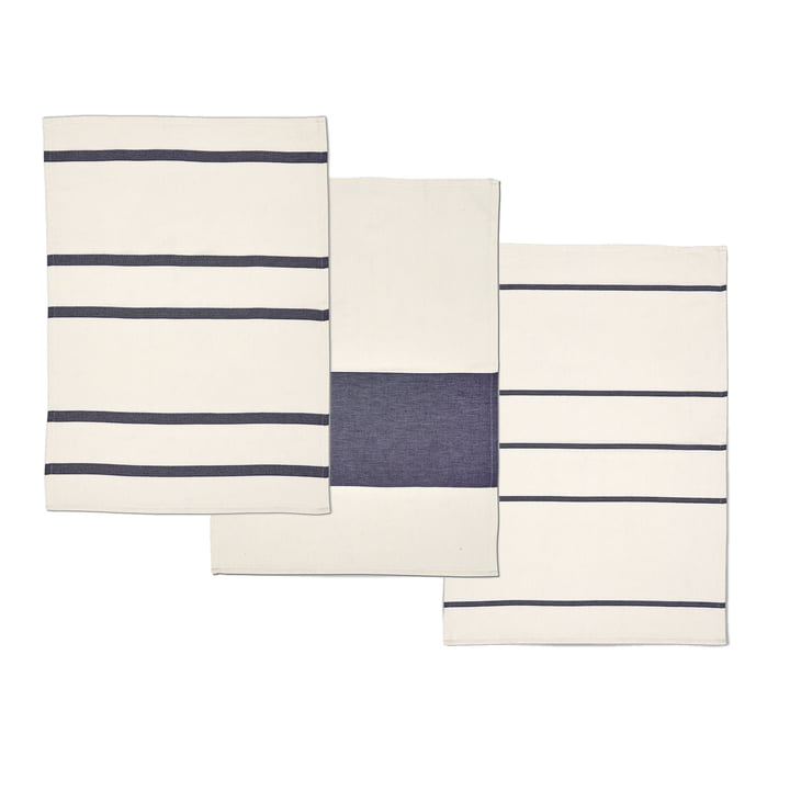 Stripes tea towel by Skagerak in whisper white / dark blue, (set of 3)