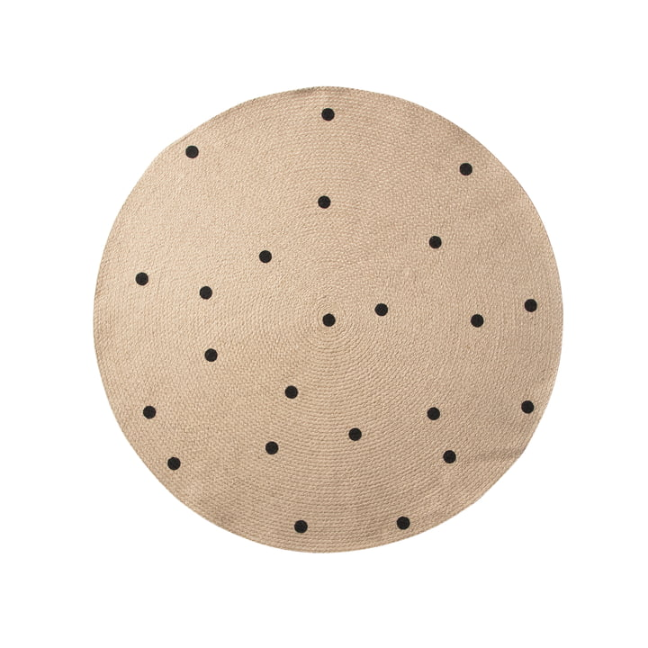 Black Dots Jute Rug Ø 100 cm by ferm Living