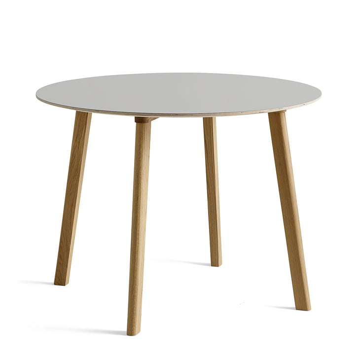 Hay - Copenhague CPH Deux 220 table Ø 98 cm, painted oak with linoleum light grey