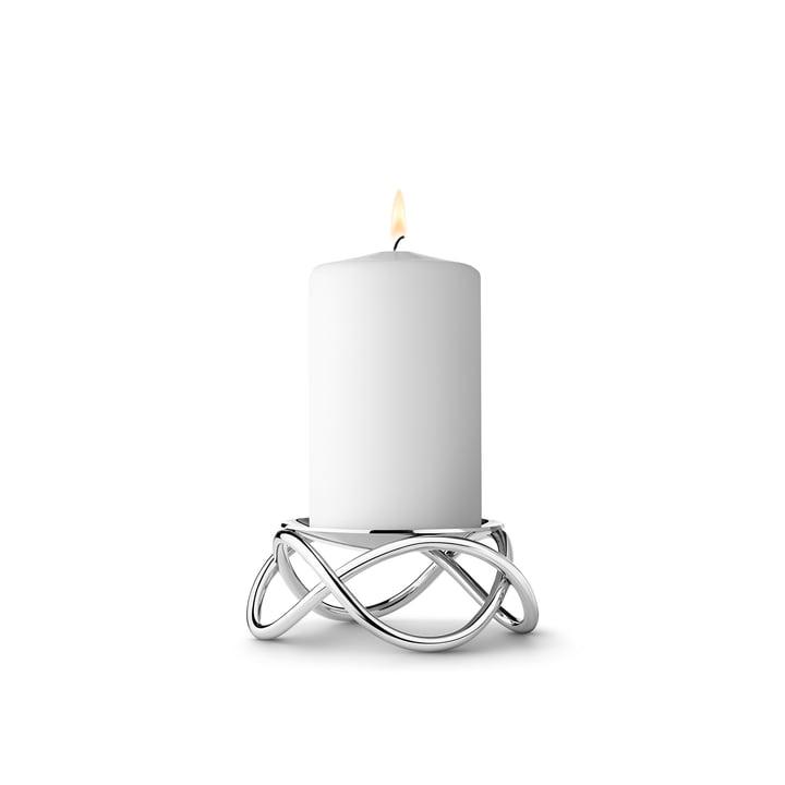 The small Glow Pillar Candleholder by Georg Jensen in matt stainless steel