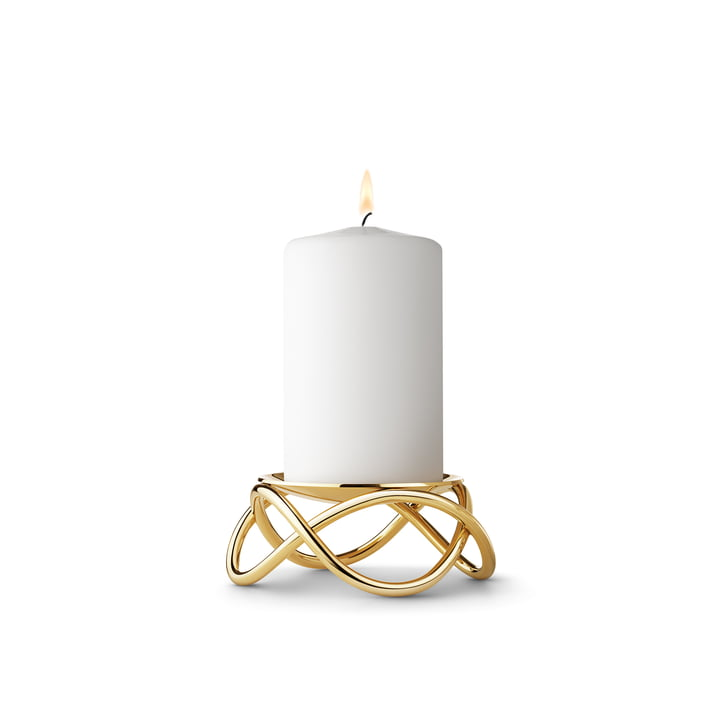 The small Glow Pillar Candleholder by Georg Jensen in gold-plated stainless steel
