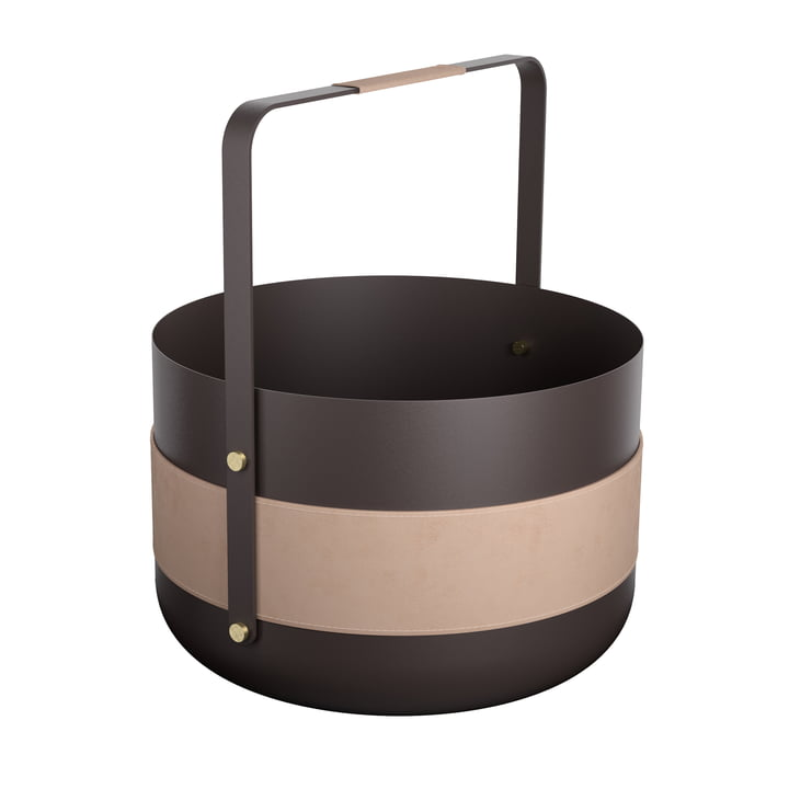 Wood Basket Emma Naturel II by Eldvarm in black / pink