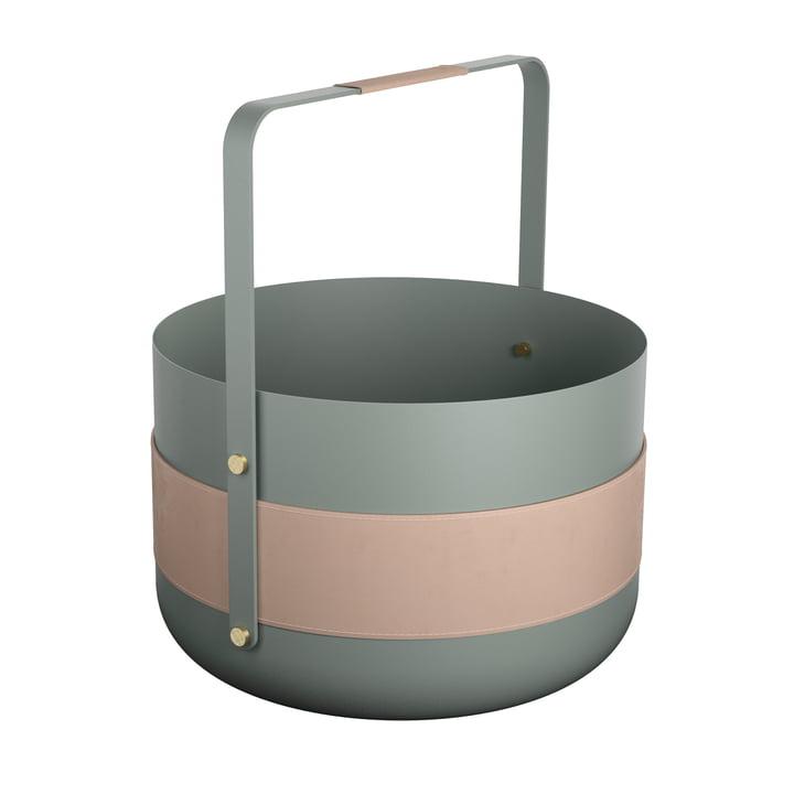 Wood Basket Emma Lichen by Eldvarm in green / pink