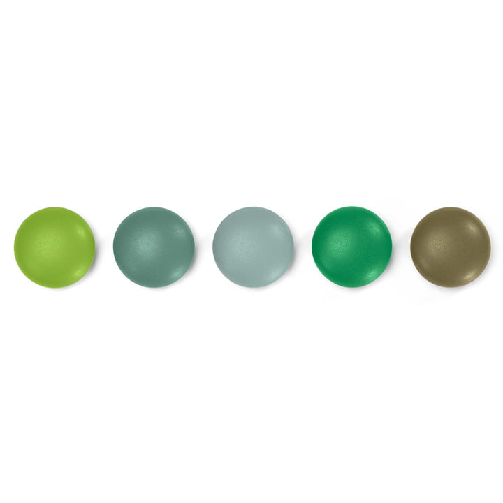 Set of 5 magnetic Dots by Vitra in Green