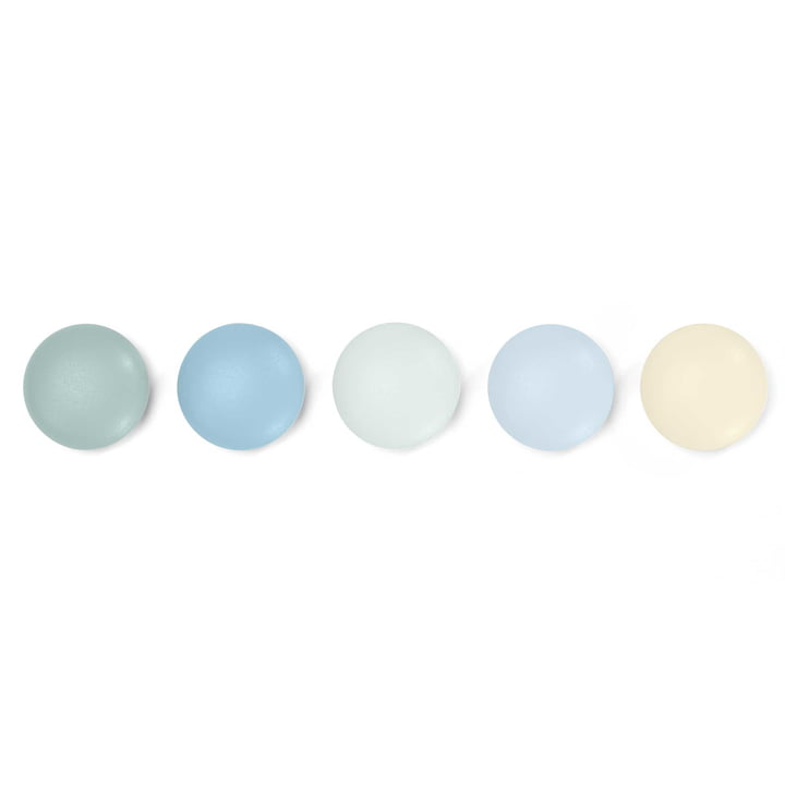 Set of 5 magnetic Dots by Vitra in Pastel Shades