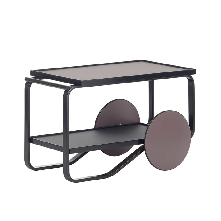 Tea Trolley by Artek in Birch Black and Linoleum Peat and Charcoal coloured