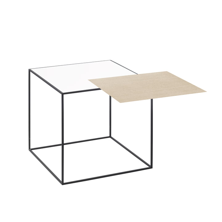 by lassen - Twin 35 Side Table, black, white / oak