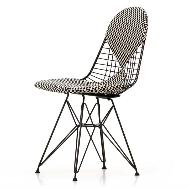 Vitra - Wire Chair DKR-2 Bikini, Hopsak Checker, black frame, felt glider (basic dark)
