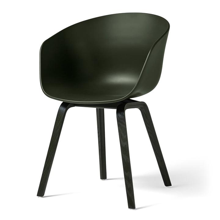 Hay - About A Chair AAC 22, wooden four-leg frame, green / green (felt glides)