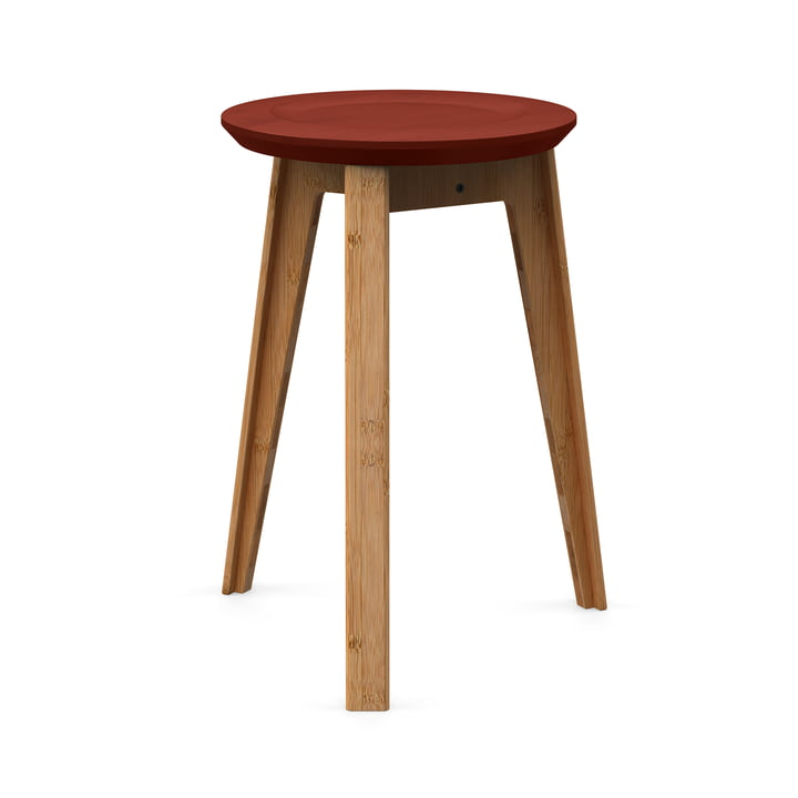 Button Stool by We Do Wood in Rust Red