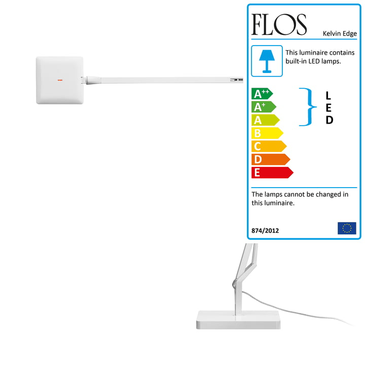 The Flos - Kelvin Edge C table lamp in white