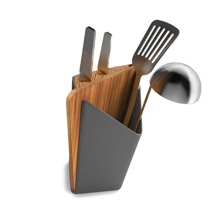 Utensils and Knife Holder incl. Cutting Board by Black + Blum in Grey