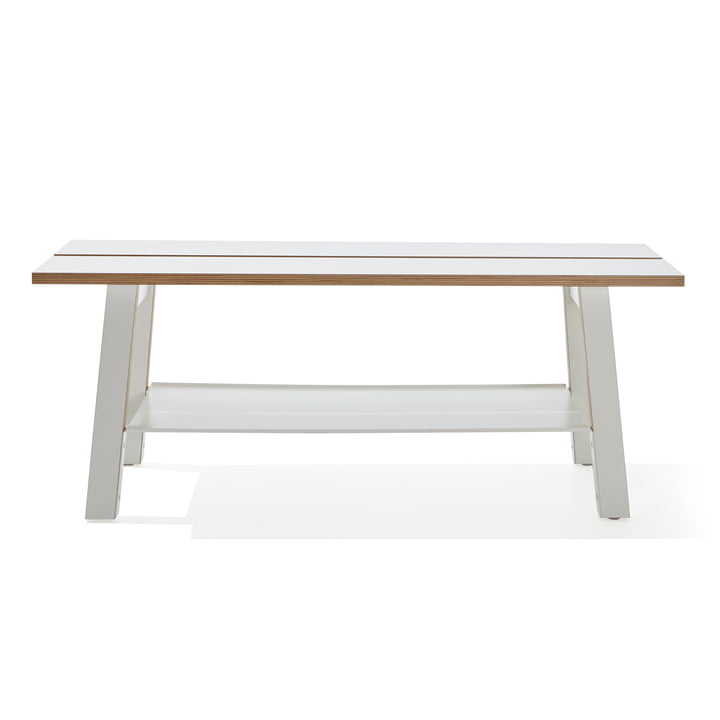 Modern bench with storage compartment