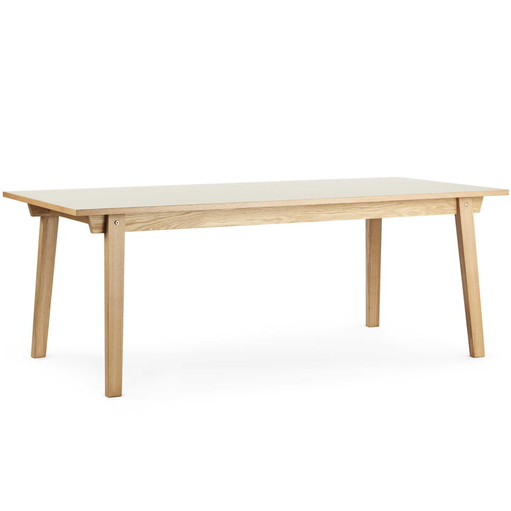 Normann Copenhagen - Slice table linoleum 90 x 250 cm, cream