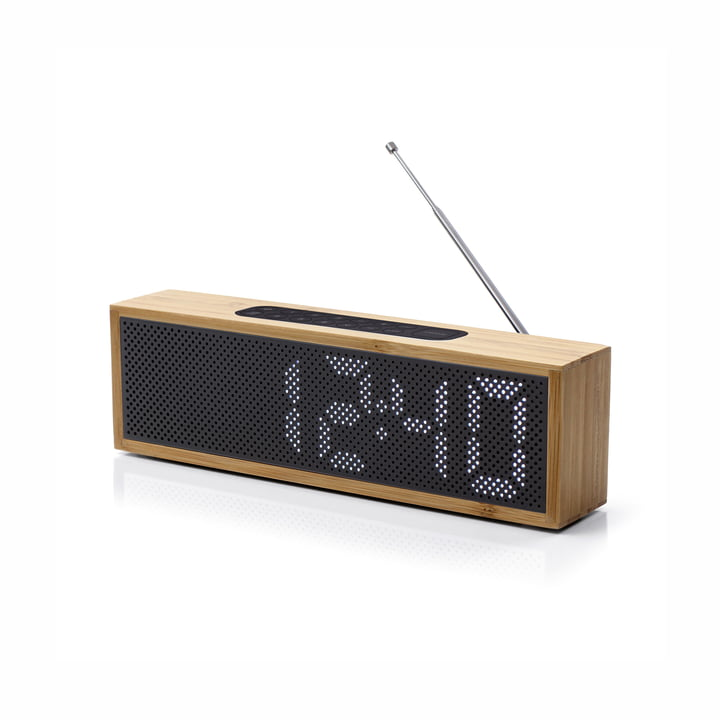 Titanium Radio Alarm Clock by Lexon in black / bamboo