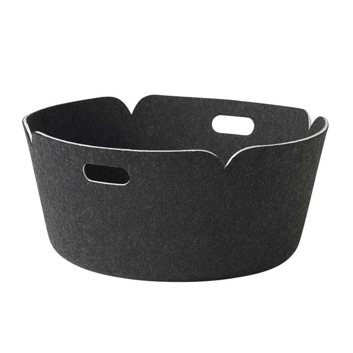 Muuto - Restore round storage basket, black melange