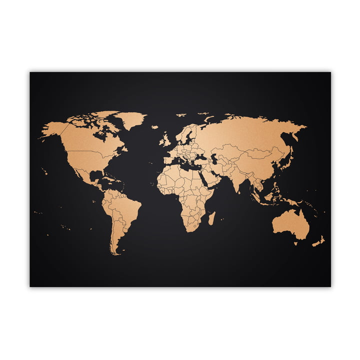 Awesome Maps - World Map, copper / black