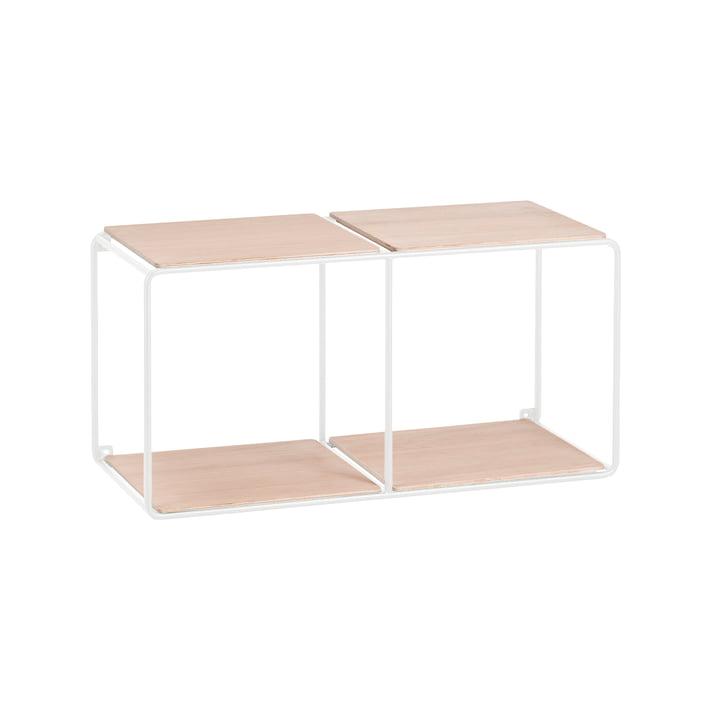 Korridor - AnyWhere wall shelf 1x2 with 4 shelves white / oak
