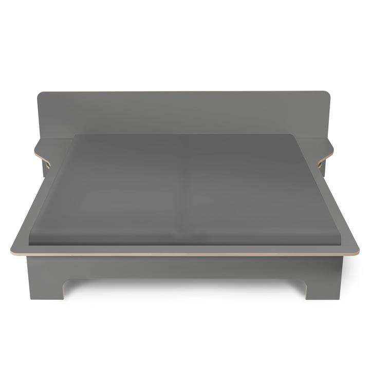 Tarpaulin double bed from Müller Möbelwerkstätten in anthracite