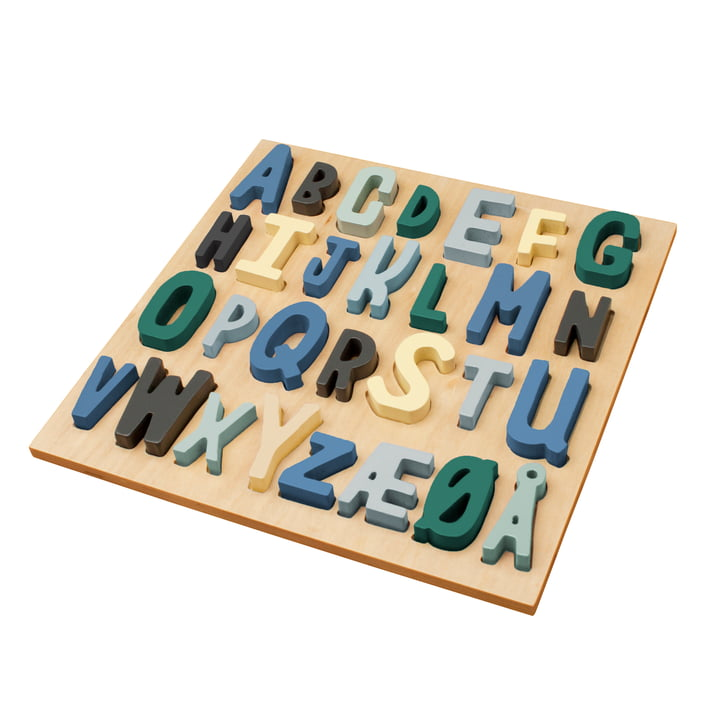 Wooden Puzzle ABC of Sebra in Shades of Blue