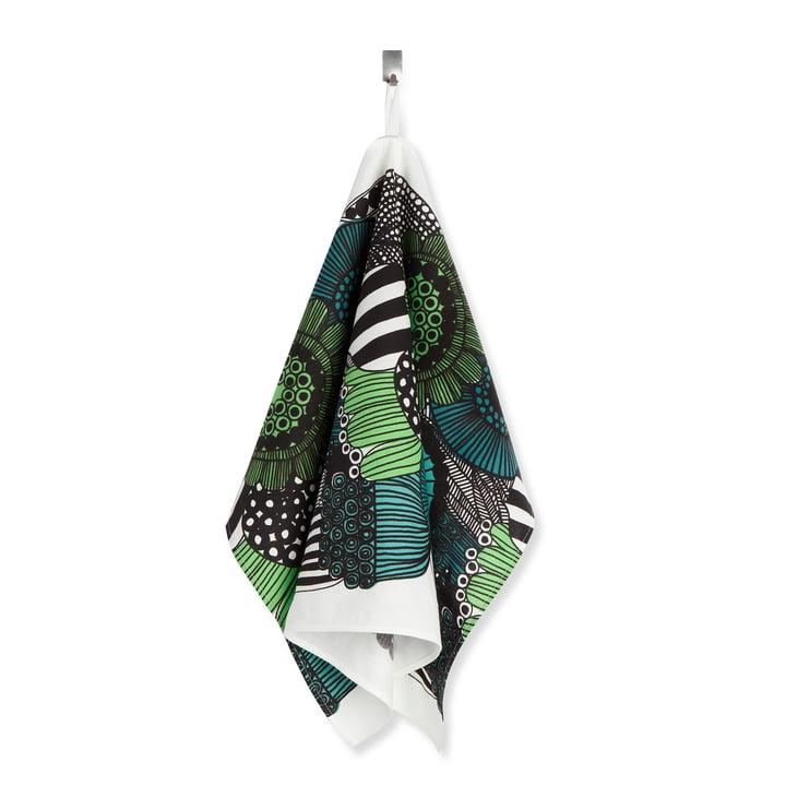 The Marimekko - Siirtolapuutarha tea towel, green / white