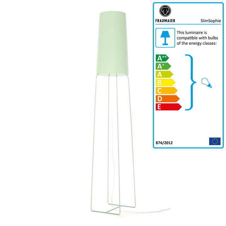 Slimsophie floor lamp with LED dimmer from frauMaier in mint