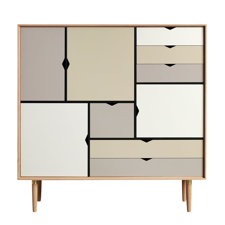 S3 Sideboard by Andersen Furniture in oiled oak (front panels silver, iron, doeskin)