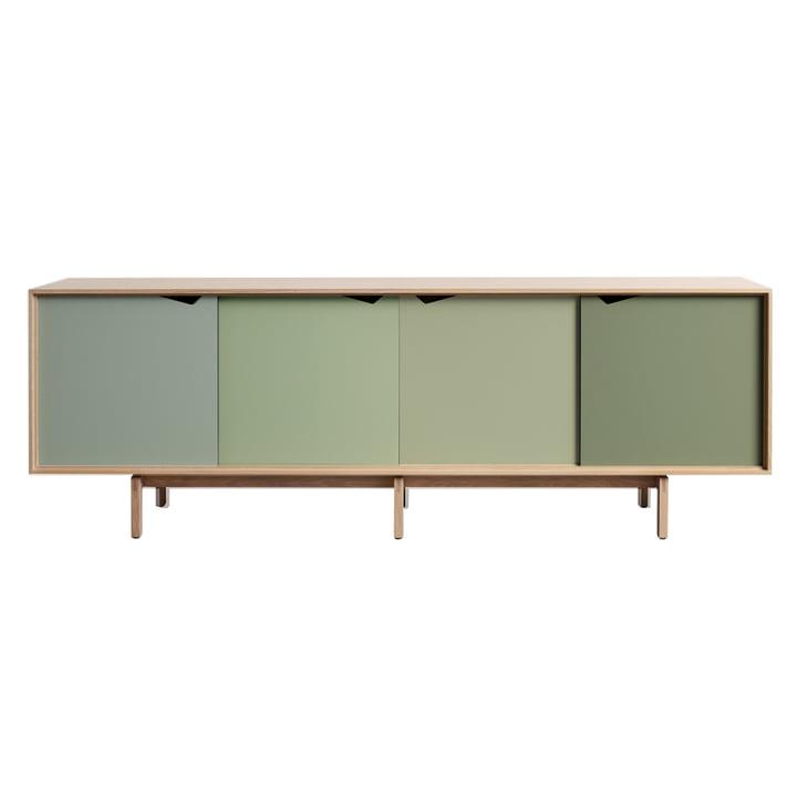 S1 Sideboard by Andersen Furniture in soaped oak (doors Ocean Grey, Doeskin, Pale Olive, Ocean Grey)