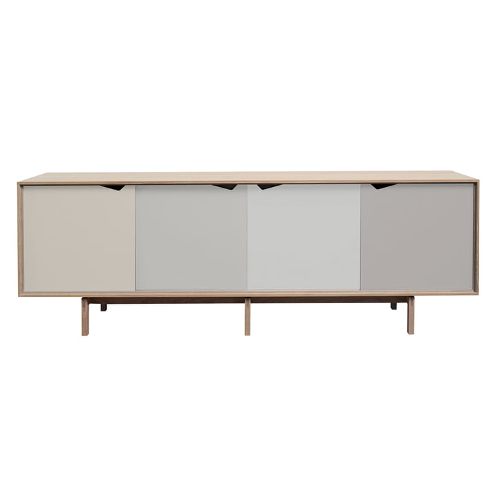 S1 Sideboard by Andersen Furniture in soaped oak (doors Doeskin, Iron, Silver, Iron)