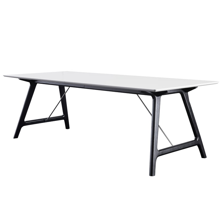 T7 Extending Table 220 cm by Andersen Furniture in black lacquered / white oak