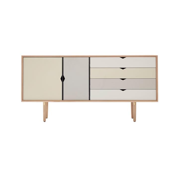 S6 Sideboard by Andersen Furniture in soaped oak (front panels silver, iron, doeskin)