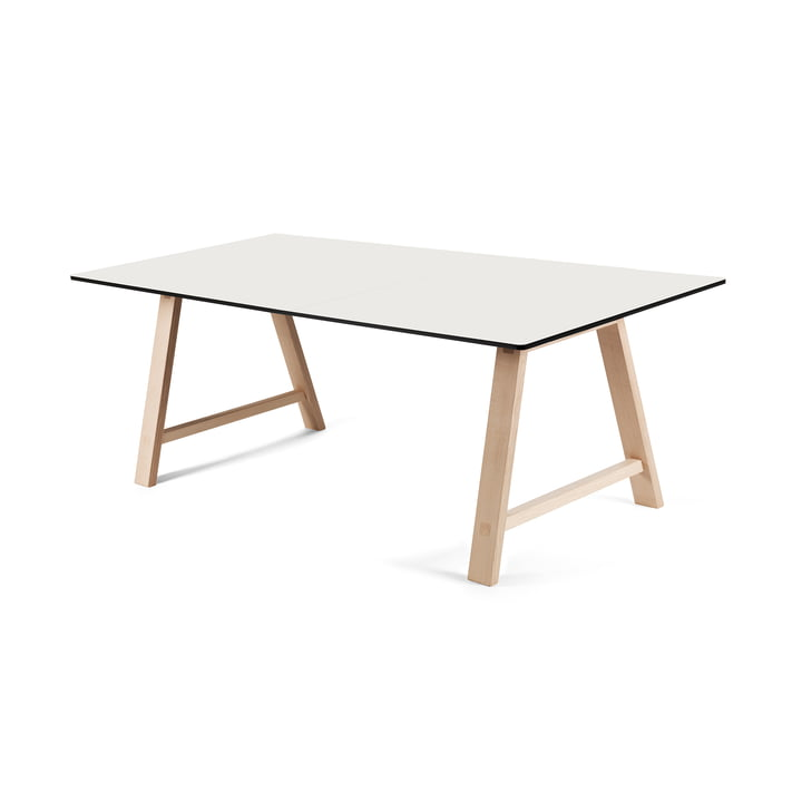 T1 Extending Table 160 cm by Andersen Furniture (frame soaped oak, table top laminate, white)