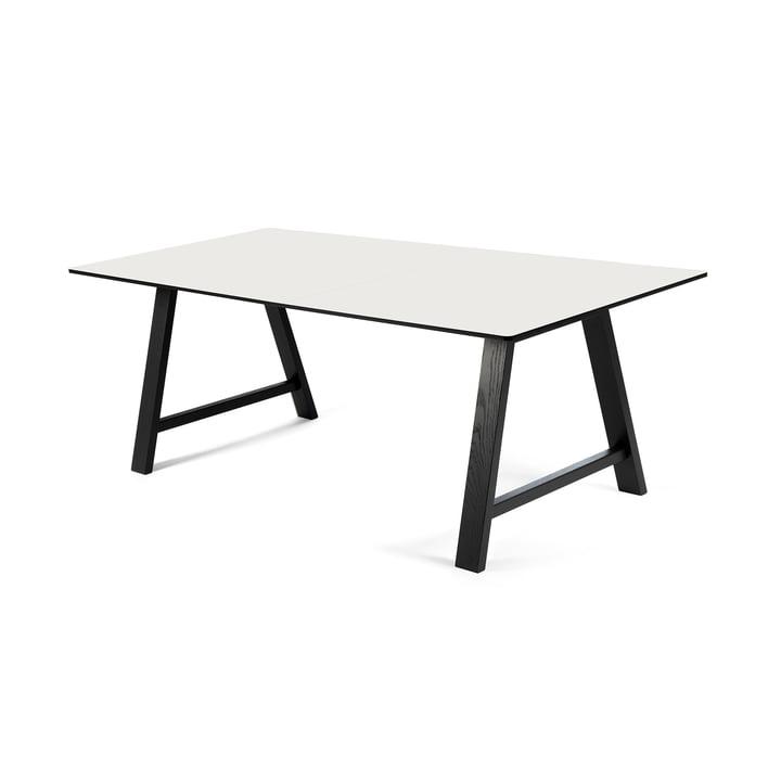 T1 Extending Table 160 cm by Andersen Furniture (frame black varnished oak, table top laminate, white)
