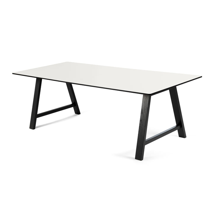 T1 Extending Table 180 cm by Andersen Furniture (frame black varnished oak, table top laminate, white)