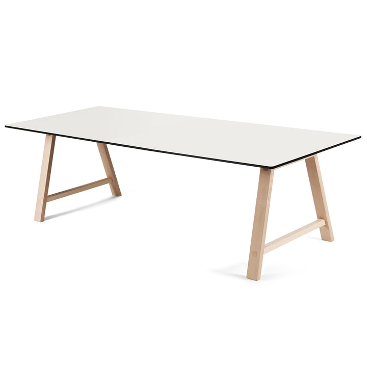 T1 Extending Table 220 cm by Andersen Furniture (frame soaped oak, table top laminate, white)